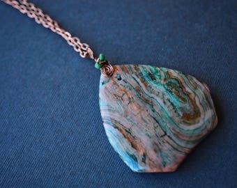 Crazy Lace Agate Necklace, Green Necklace, Wire Wrapped Necklace, Antique Copper Necklace, Boho Necklace