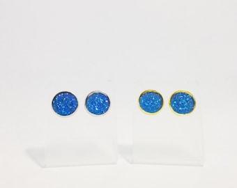 The Sugar Earrings in Ocean | Blue Glitter Earrings | Glitter Druzy Earrings | Cobalt Blue Druzy Earrings | Royal Blue Earrings