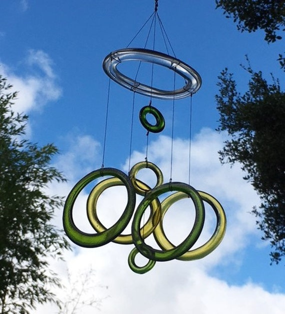 gold, green and clear glass wind chime mobile made from recycled wine bottles upcycled