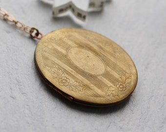 Personalised Victorian Locket ... Oversized Large Gold Brass with Copper Inlaid Tarnished
