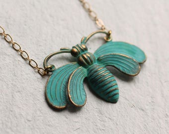 Bee Necklace ... Bumble Honey Bee Insect Verdigris Vintage Pendant