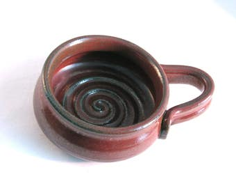 Shaving Mug - Handmade Pottery - Lather Bowl - Pottersong - Red Shave Mug - Ridges for Good Lather - Comfort Shave - Rustic Rust Red