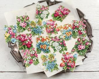 Vintage Scraps - Die Cut Paper Flowers, Garden Florals, 16 Pcs.