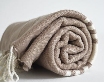 SALE 50 OFF/ BathStyle / No17 Beige /Turkish Beach Bath Towel Peshtemal / Bath, Beach, Spa, Swim, Pool Towels