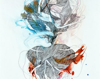 Haematic Susurrus - large format print / mixed media painting / abstract contemporary art / giclee print