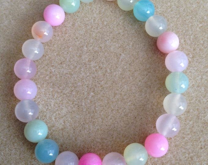 Pink Pastel Mix Agate 8mm Stretch Bead Bracelet with Sterling Silver Accent