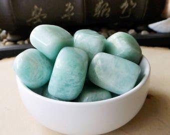 Amazonite - tumbled crystal, polished stone, Manifestation