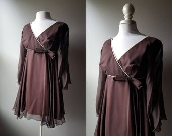 Vintage 60's Baby Doll Dress Brown Dress Fit and Flare Small Dress Prom Dress 60's Mad Men Chocolate Brown Spin Dress Twirl Bell Sleeve