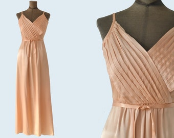 1970s Studio 54 Full Length Peach Dress size XS