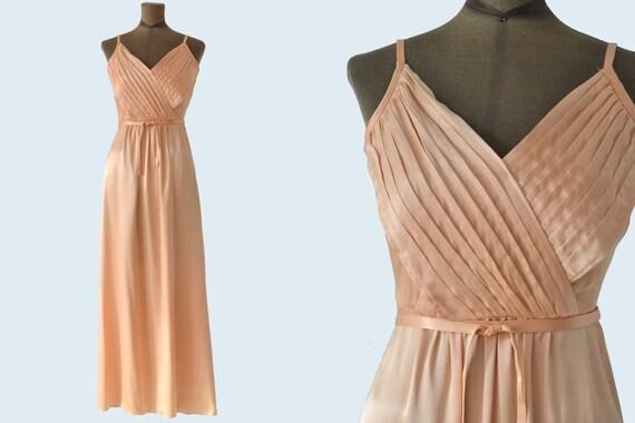 1970s Studio 54 Full Length Peach Dress size XS