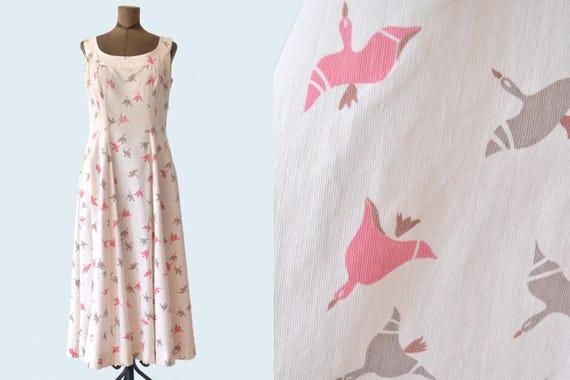 1940s Swan Print Dress size M