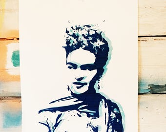 La Maestra . Our Lady of Art: Frida Kahlo, Patron Saint  - Glow in the Dark hand pulled screen print