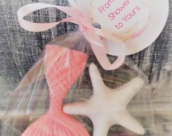 Mermaid Tail and Star Fish Soap Favors:  Mermaid theme, Little Mermaid, Baby Shower Favors, Birthday Favors, Baby Sprinkle Favors, Mermaid