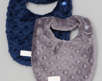 BEST Drool Bibs- Newborn Baby DROOL Bibs- SET of 2 Gray & Navy Minky -Newborn Minky Bib- Minky Drool Bib- Drooler Bib-Perfect new baby gift