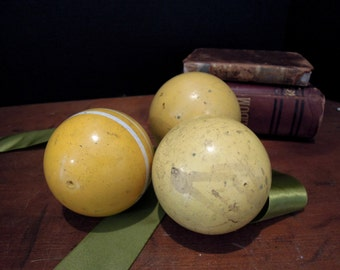 Three Vintage Weathered Croquet Balls / Yellow / White Stripe / Home Decor