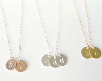 Rose Gold Disc Necklace, Personalized Initial Best Friends Necklace, Personalized Initial Necklace, Silver Jewelry, BFF Gold Initial Disc