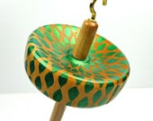Hand Painted Maple Drop Spindle Metallic Green - Small