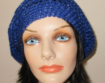 Blue Slouchy Hat Slouchy Crochet Hat Cold Weather Accessory Trendy Hat