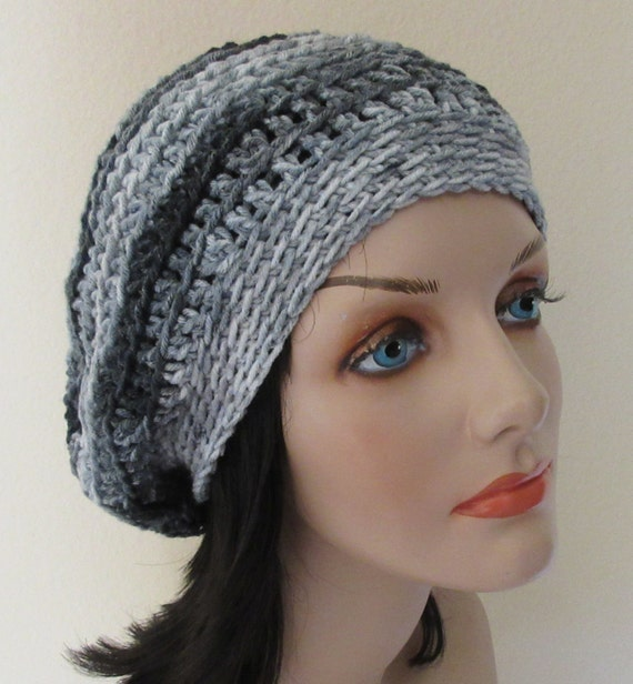 Grey Crochet Slouchy Hat Cold Weather Accessory French Beret Tam