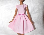 Lite pink dress with attached pearl necklace for Fashion Dolls - ed927