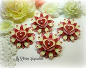Valentine's Red, Pink and Ivory Handmade Paper Embellishments, Paper Flowers for Scrapbook Layouts Cards Mini Albums Tags and  Paper Crafts