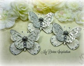 Light Gray Silver Paper Butterflies, Paper Embellishments for Scrapbooking Cards Mini Albums Tags and Paper Crafts