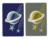 SHOOTING STARS (2) Vintage Single Swap Playing Cards Paper Ephemera Scrapbook