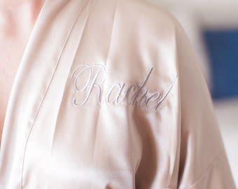 Bridesmaid robes Champagne Satin Kimono Monogrammed Robes Embroidered Bridal Party Robes Wedding Gifts Flower Girl jumior bridesmaid robe