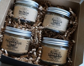 Salt and Sugar Scrub Gift Box - Sampler Set - Spa Gifts - Skin Care - Exfoliation for Dry Winter Skin