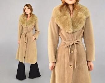 70's Shearling + Suede Trench Coat