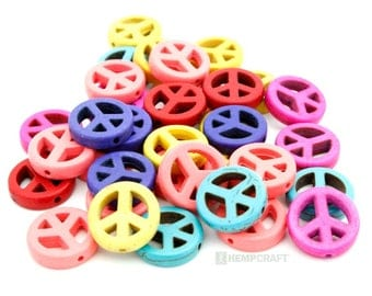 Peace Sign Beads, Assorted Mix Color Dyed Magnesite - 15mm