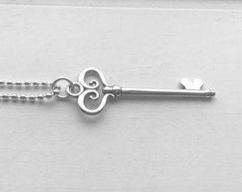 Key Necklace, Sterling Silver, Everyday Necklace, Key Jewlery, Skeleton Key Pendant, Gifts for her