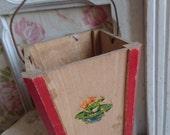 Sweet antique French timeworn wooden seaside sandcastle bucket c1900 FROG VIGNETTE Belle Brocante