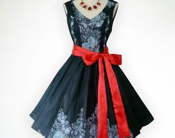 Elegant V neck Beautiful Roses 50s Pin up Rockabilly Swing Dress Full Swing Skirt
