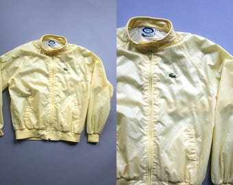 Vintage 1980's Izod Lacoste Outerwear Lightweight Yellow Zip Up Jacket / Retro Preppy Spring Summer Women's Size Large