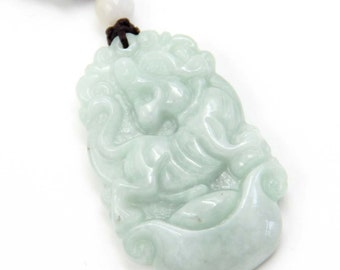 Natural Jadeite Gem Carved Chinese Zodiac Tiger Amulet Pendant 37mm*23mm  cy195
