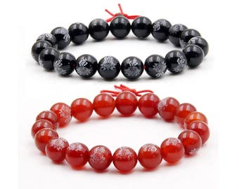 2Pcs 8mm(Red,Black)Agate Fo Lotus Prayer Beads Buddhist Mala Bracelets For Meditation  H026