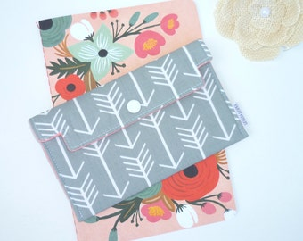 Coupon / Receipt Holder / Cash Wallet / Jewelry Pouch / Phone Case - Arrows on Grey. Coral.
