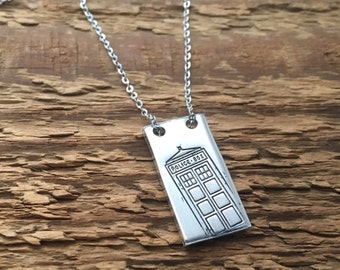 "Dr Who inspired hand stamped ""Tardis"" necklace"