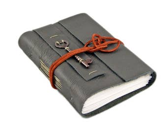 Dark Olive Green Leather Journal with Blank Pages and Skeleton Key - Ready to Ship -