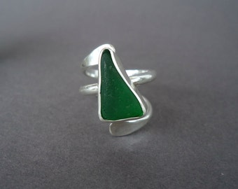 Sea Glass Ring, Statement Ring, Adjustable Ring, Poros Collection