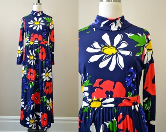 1960s Neiman Marcus Navy Floral Maxi Dress