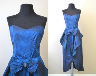 1980s Blue Taffeta Strapless Dress