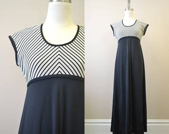 1970s Black, White, and Silver Maxi Dress