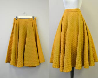1950s Gold Quilted Circle Skirt