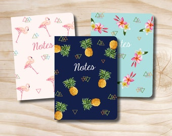 Set of 3 field notebooks Tropical Pineapple Flamingo Floral  / Navy and Gold Triangle