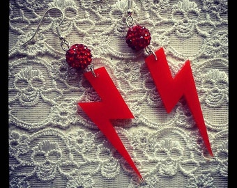 Red 'ZIGGY' Ligethening Bolt dangle earrings / Disco / 70's / Kitsch / Retro