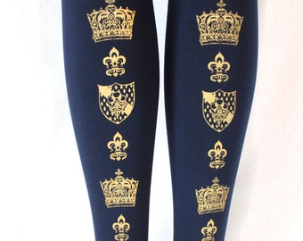 Gold Crown Print Tights Navy Blue Extra Large Plus Size XL Classic Lolita Dolly Kei Otome Hime Gyaru