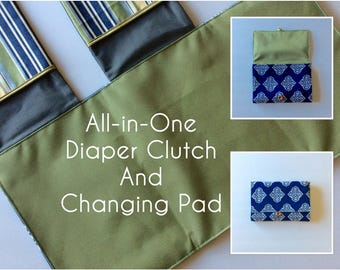 MADE TO ORDER All-in-One Diaper Clutch and Changing Pad, Navy Blue Ikat/Green diaper clutch and changing pad