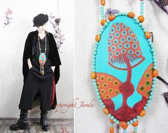 Neckpiece, Beaded art necklace, miniature painting, Wearable Art, Art neckpiece, Avant Garde Necklace, Boho necklace, Statement art necklace